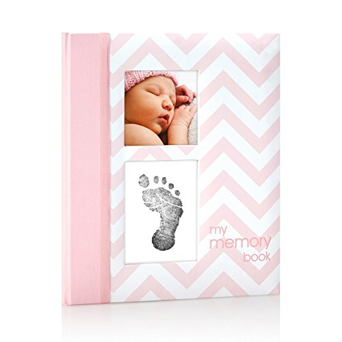 Pearhead First 5 Years Chevron Baby Memory Book with Clean-Touch Baby Safe Ink Pad to Make Baby's Hand or Footprint Included, Pink (Girls Memory Book)
