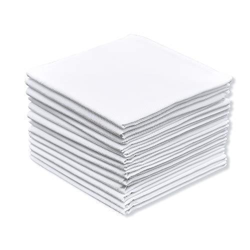 13 Packs Men's White Pure Cotton Basic Handkerchief/Hankies, Pocket Square