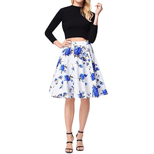 Floral Femmes Vintage lastique taille Print ligne jupe A Bleu CHENMA 5W4cv7AnH5