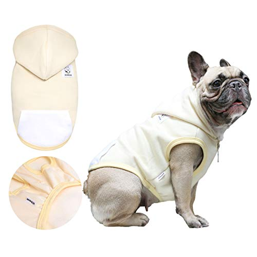 iChoue Pets Dog Winter Warm Hoodie Vest for French Bulldog Frenchie Pug Corgi Puppy Clothes Pullover Shirt Cotton Cold Weather Fleece Coat Clothing - Beige/Size ()