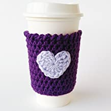 Coffee Cozy Purple with Lavender Heart