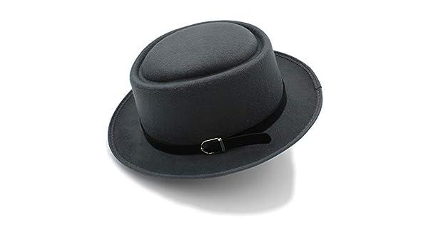 GR Sombreros de Fieltro para Hombre Fedora Sombrero de Cerdo Ancho para  Perros clásicos de Invierno Negro (Color   Gris 576519ffb2b