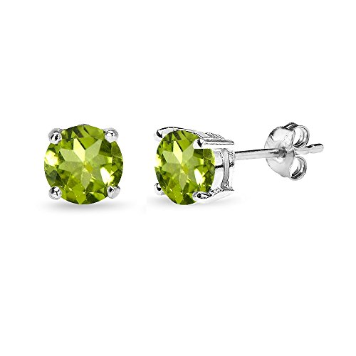 Sterling Silver Peridot 6mm Round-Cut Solitaire Stud Earrings