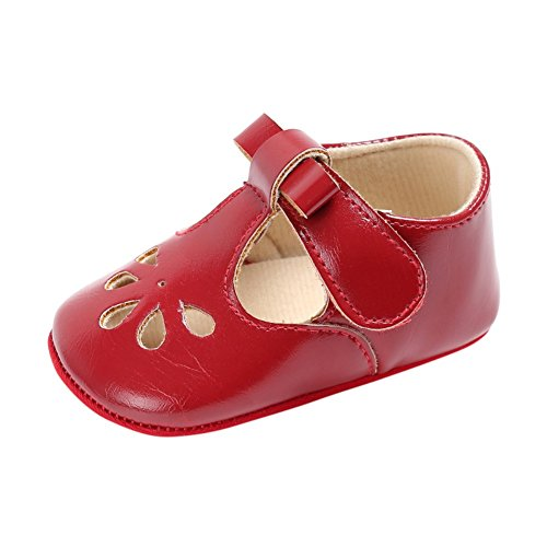 Red Leather Flats Shoes - 6