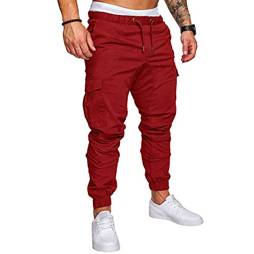 - LINGMIN Men's Athletics Pocket Chino Cargo Pant Elastic Waist Trousers Jogger Pants Red