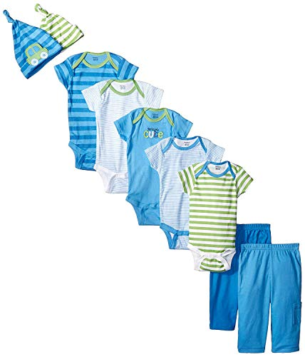 Gerber Baby-Boys Newborn Seriously Cute 9 Piece Bodysuits Pants and Caps Set, Blue, 0-3 Months