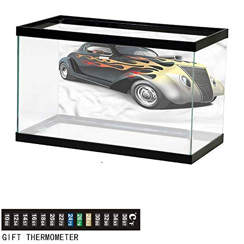 Suchashome Fish Tank Backdrop Vintage,Retro 40s Drag Car,Aquarium Background,30