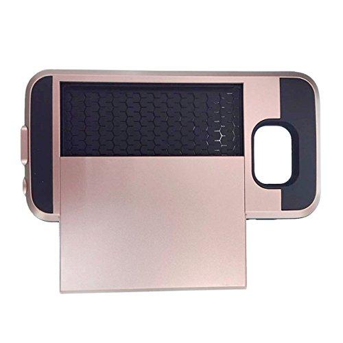 Telefon-Kasten - SODIAL(R)Karte Tasche Stossfeste Duenne Hybrid Mappe Abdeckung fuer Samsung Galaxy S6 Rose Golden