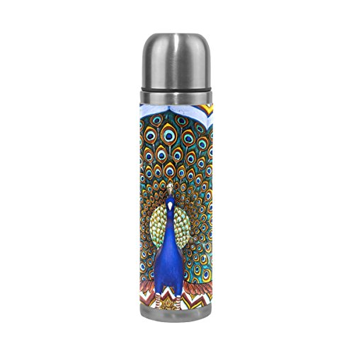 DEYYA India Peacock Pattern Print 17 oz Double Walled Vacuum Insulated Stainless Steel Water Bottle Vacuum Flask Travel Mug Thermos Coffee Cup by DEYYA