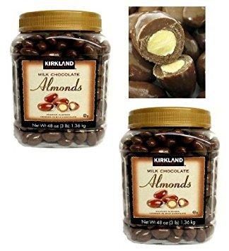 Chocolate Coated Almonds - Twin Pack Kirkland Signature Milk Chocolate Almonds Roasted Almonds Covered in Milk Chocolate Jar of 3 Lb (48 Oz)