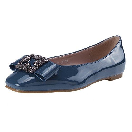 Damara Womens Chic Square Toe Patent Leather Slip-On Shoes Blue 7plW4GlSG