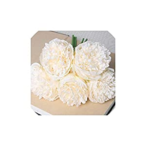 Smileshop01 5 Heads Peony Artificial Flower Christmas Home Decoration Silk Real Touch Peony Fake Flower,Milky White 19