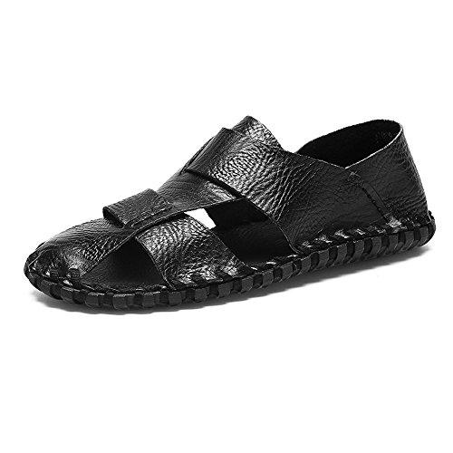 EU antiscivolo Nero pelle Dimensione Mens a a scarpe all'aperto Color vera shoes sandali escursioni la piatte chiusa uomo in 44 piedi punta morbide 2018 Suture da per spiaggia wSpf4qq8W