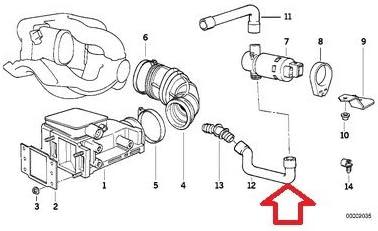 Genuine BMW 318 m42 Air Hose Idle Control Valve 2 Boot OEM e36 3-series 92-94