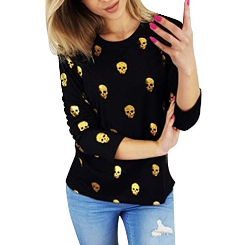 Women Halloween Blouse, Long Sleeve Skull Print Gold Stamp Top ANJUNIE Bottom Shirt -