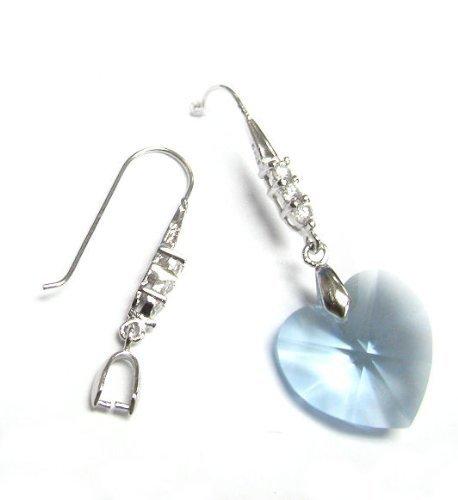 2 pcs Rhodium 925 Sterling Silver Cz Ear Hook Dangle Pinch Dangle Earring Connector