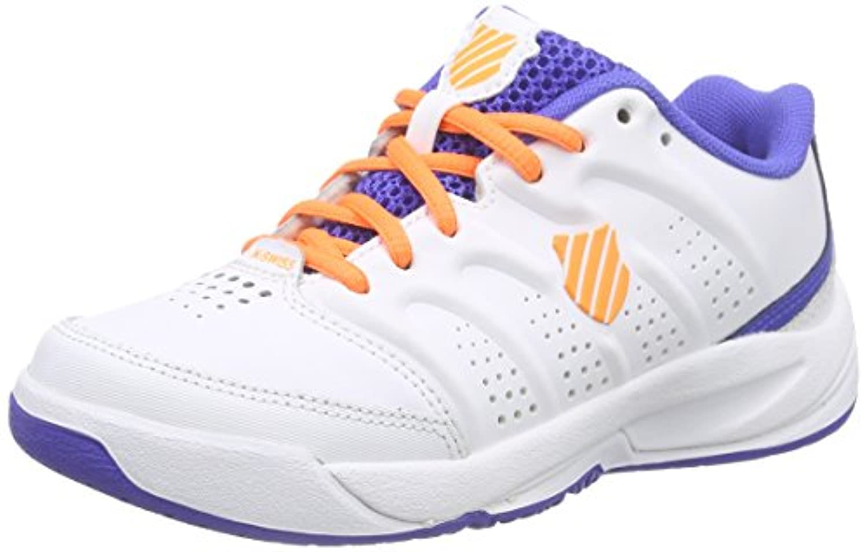 K-Swiss Performance Ultrascendor Omni Jr, Boys' Tennis Shoes, White (White/Electricblue/Orange 199), 3.5 UK