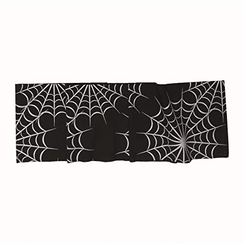 Halloween Webs 14x72 inches Table Runner Black and Silver by C&F]()