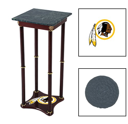 Square Green Marble Top Accent Table Featuring the Choice of Your Favorite Football Team Logo on the Bottom Shelf! FREE Coaster Included! (Redskins)