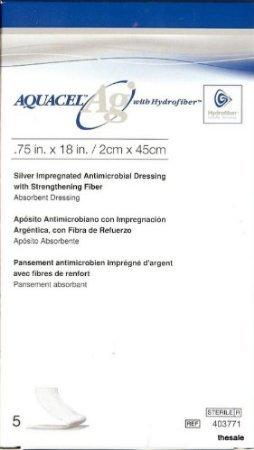 AQUACEL Ag Ribbon Dressing with Strengthening Fiber 0.75' x 18' Box: 5
