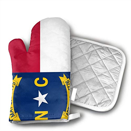 North Carolina Flag Oven Mitts and Pot Holders Set with Polyester Cotton Non-Slip Grip, Heat Resistant, Oven Gloves for BBQ Cooking Baking, Grilling