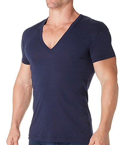 2(X)IST 2xist Pima Slim Fit Deep V-Neck T-Shirt (041041) XL/Navy (Pima Cotton Coat)