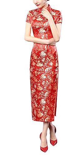 ACVIP Women's Brocade Chinese Wedding Side-Split Long Dress 8 Colors (10, red Flower)