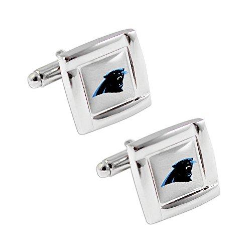 NFL Carolina Panthers Square Cufflinks with Square Shape Logo Design Gift Box Set Carolina Panthers Cufflinks
