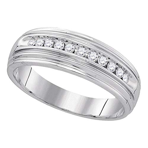 Jewel Tie - Size 12.5 - Solid 925 Sterling Silver Men's Round Diamond Band Wedding Anniversary Ring (1/4 Cttw.) Channel Diamond Comfort Promise Ring