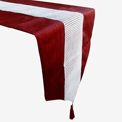 San Tungus Elegant Luxury Tassel Sequined Rhinestone Table Runner Dining Decorative Tapestry for Wedding/Party,13x72-Inches,Red