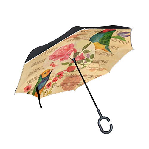 Double Layer Inverted Victorian Style Collage Postcard Watercolor Drawings Umbrellas Reverse Folding Umbrella Windproof Uv Protection Big Straight Umbrella For Car Rain Outdoor With C-shaped Handle