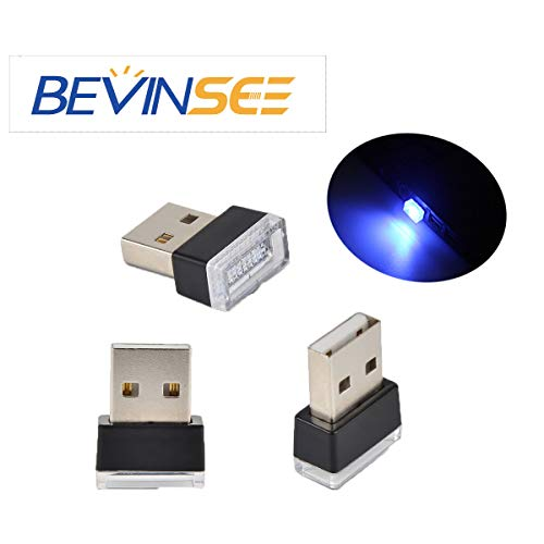 Bevinsee Mini USB Plug-In 5V Lamp Interior Atmosphere Ambient Lighting Kit for cars,computer,laptop,power bank,usb hub,Blue,3pcs (Best Car Ambient Lighting)