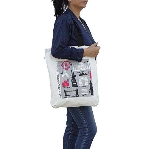 Shalinindia–lona de algodón multiusos bolsa de la compra tamaño–H-45X W-38cm, correas–�?5cm Multi_14