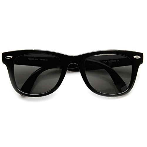 zeroUV - Bright Neon Colorful Compact Folding Pocket Horn Rimmed Sunglasses 50mm (Black - Folding Wayfarer Sunglasses