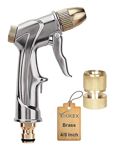 YOUKEX Garden Hose Nozzle High Pressure – Heavy Duty Brass Nozzle, 0.5 Inch Connector, 6 Spray Models Pistol Grip Sprayer for Garden, Car Wash, Pets Showering, Window Wash