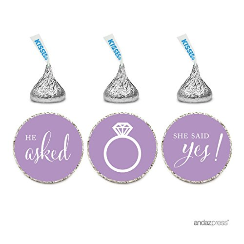 Andaz Press Chocolate Drop Labels Stickers, Wedding He Asked She Said Yes!, Lavender, 216-Pack, for Bridal Shower Engagement Hershey's Kisses Party Favors Decor -