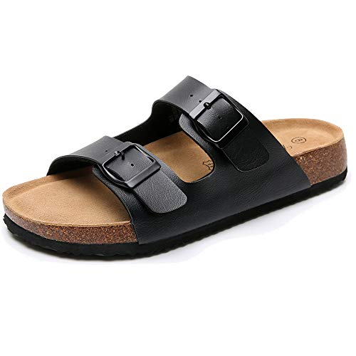 Real Fancy Women's Comfort Arizona 2-Strap Flat Cork Leather Sandals with Double Buckle Soft Cow Suede Open Toe Summer Slide Shoe Black ()