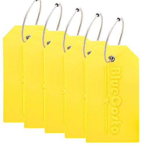 BlueCosto 5x Luggage Tags Suitcase Tag Travel Bag Labels w/Privacy Cover - Yellow