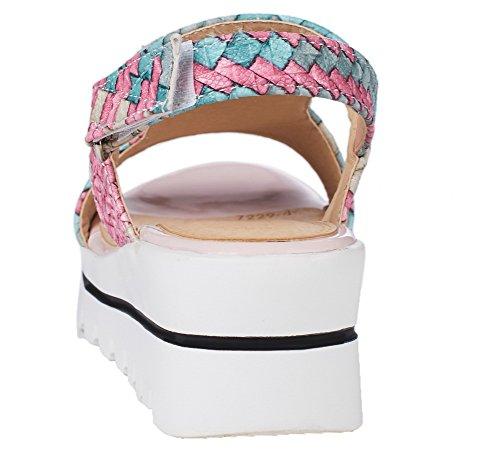 À À Femmes Talons Velcro Toile Bout Sandales Haut Ouvert Ouvert Allhqfashion XxEHwx