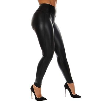 c04380320a1 Solike Leggings Entraînement Couleur Uni Pantalons en Cuir pour Femmes  Couture Fitness Sports Pantalons Athlétique Pantalon