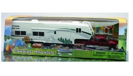 Collectible Diecast 1:32 Scale Ford Dually Pickup Model Toy Truck Replica with Fifth Wheel Camper Trailer & Camping Adventure Set with Accessories for Hobbyists, Collectors, & Kids, Red/Multicolor, 21 x - Accessories Model Camping