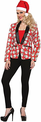 Women's Santa Claus Blazer Suit Jacket Costume Green Red Christmas, (Red Suit Jacket Costume)