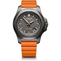 Victorinox Swiss Army Men's 'I.N.O.X.' Swiss Quartz Titanium and Rubber Casual Watch, Color:Orange (Model: 241758)