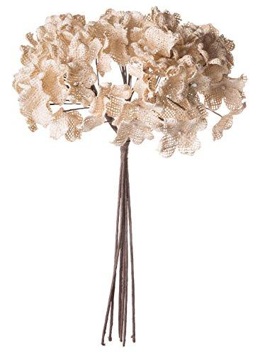 Wonderful Cream Burlap Hydrangea Bunch, Decorative Faux Flowers, Artificial Floral Arrangements, Home and Garden Décor, 12-inch