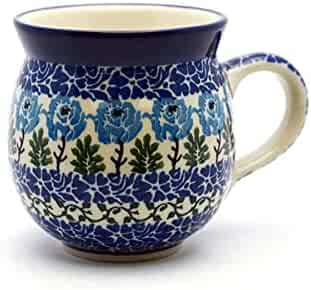 Polish Pottery Mug - 11 oz. Bubble - Antique Rose