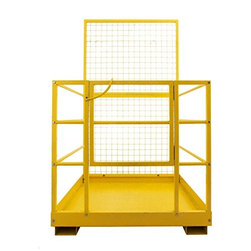Mophorn Forklift Safety Cage 45 x 43 Inch Fork Lift Work Platform 1200lbs Capacity Heavy Duty Steel Forklift Safety Lift Basket Aerial Fence Rails Yellow Pallet loader Fork lift Safety Cage (45''x43'') by Mophorn (Image #4)