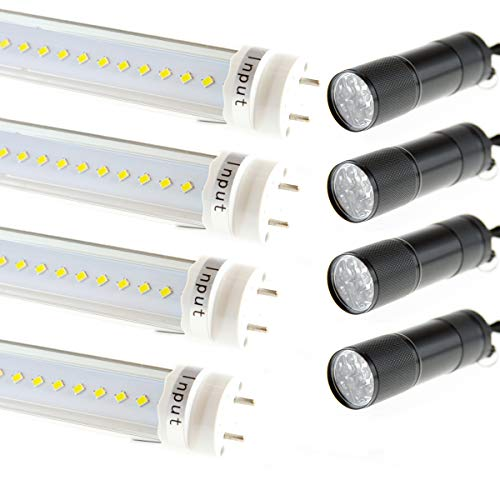 (T8 T10 T12 LED Light Tube 4FT, 20W (60W Equiv.), Dual-End Powered, Ballast Bypass, F48T8 Fluorescent Replacement, 2320 Lumens, 6000K, Clear, Garage, Warehouse, Shop Light - 4 Pack Daylight White)
