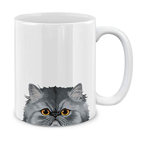 MUGBREW Gray Chinchilla Persian Cat Ceramic Coffee Gift Mug Tea Cup, 11 OZ
