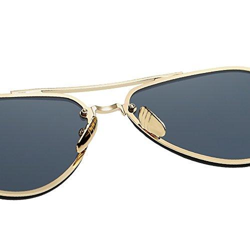 Espejo UV Negro De 100 Sol Polarizadas Sin TESITE Gafas Gafas Gris Femeninas Marco vgUfPwzwqx