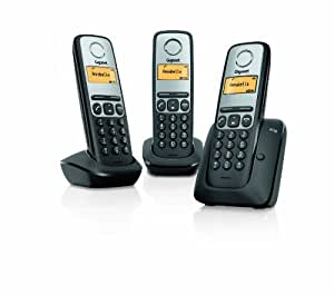 Gigaset A130 Trio - Teléfono fijo digital (inalámbrico, pantalla LCD, identificador de llamadas), negro (importado)